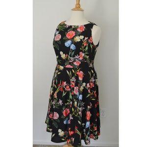 eShakti Vibrant Floral Print Crepe Dress 2x/20w